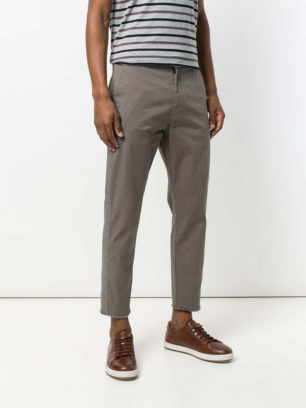 Pence Cotton Cropped Trousers in Grey (Grey) for Men