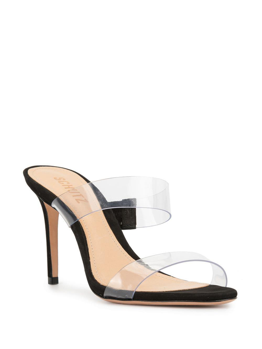 58c4233f04dbe5 Schutz Clear Strap Sandals in Black - Lyst