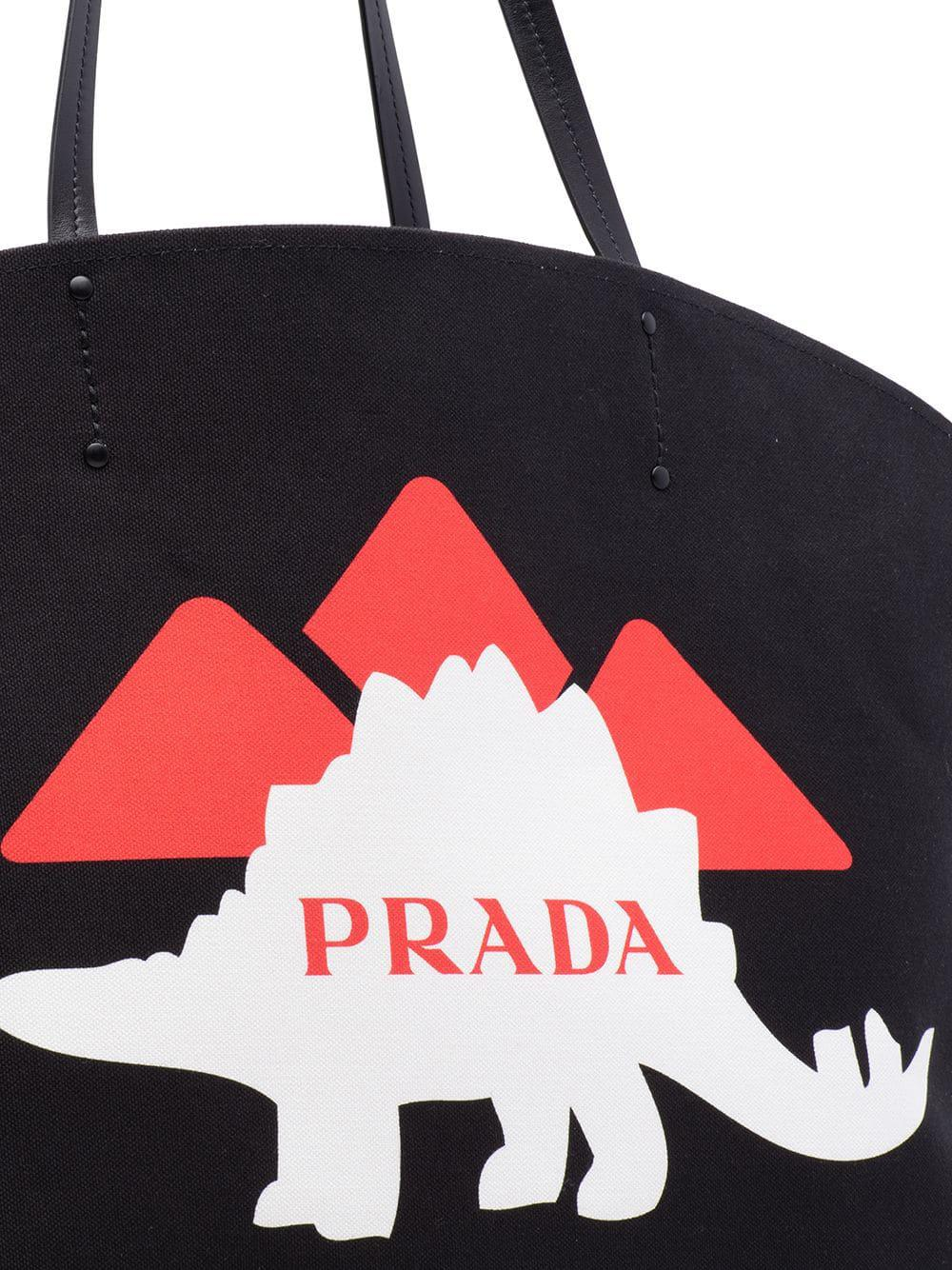 076686cdf51f Prada Dinosaur Printed Canvas Black Tote Bag in Black - Lyst