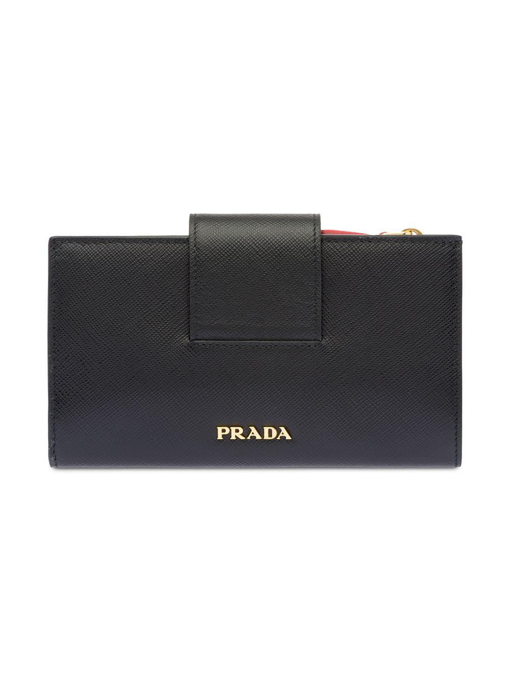 0f2297d729a0 Lyst - Prada Medium Saffiano Leather Wallet in Black