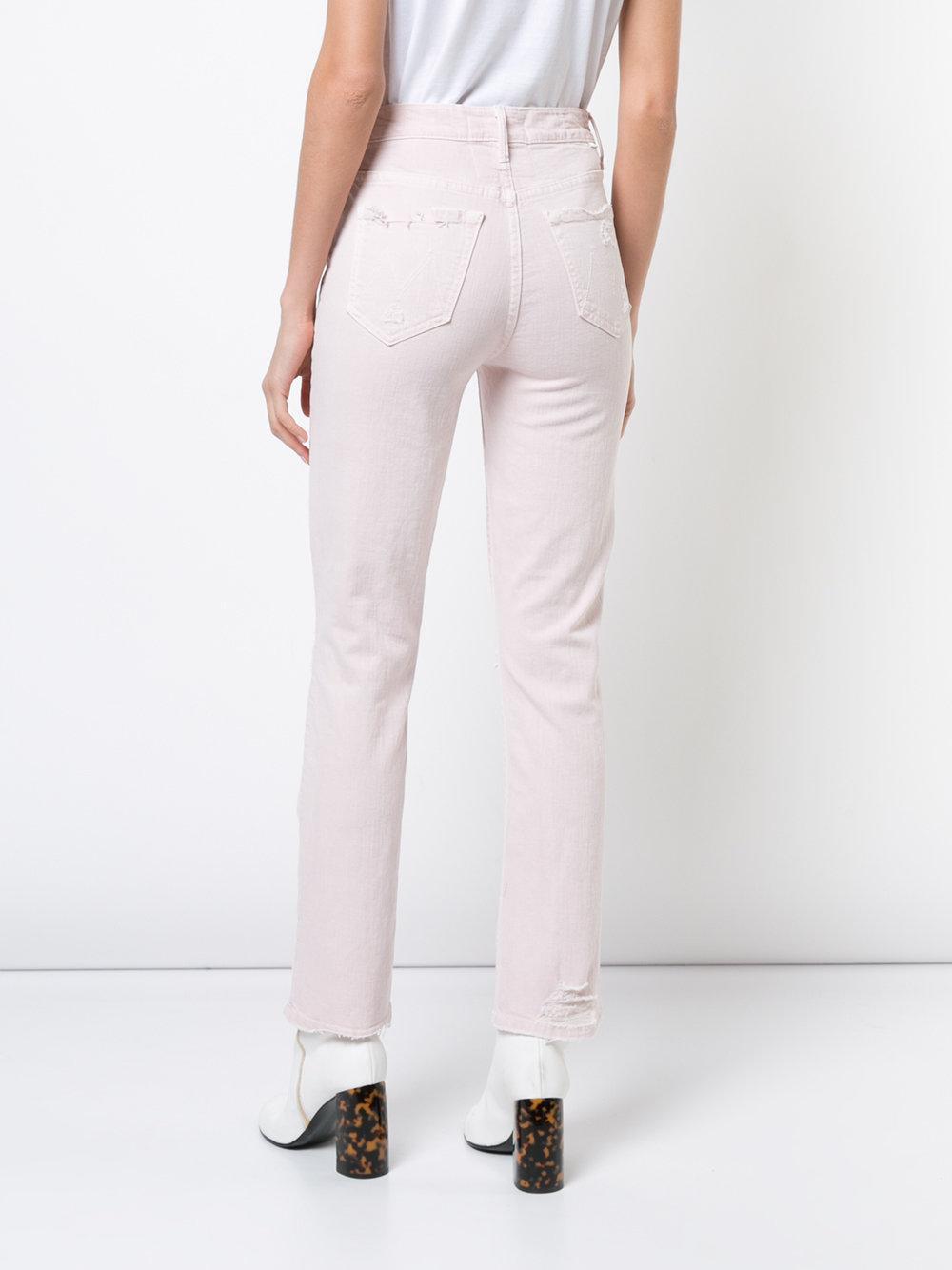 Mother Denim Distressed Skinny Jeans in Pink & Purple (Pink)