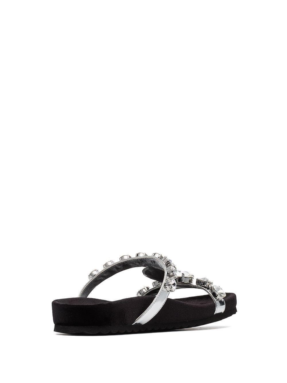 1655b626b Miu Miu - Metallic Crystal Strap Flat Sandals - Lyst. View fullscreen
