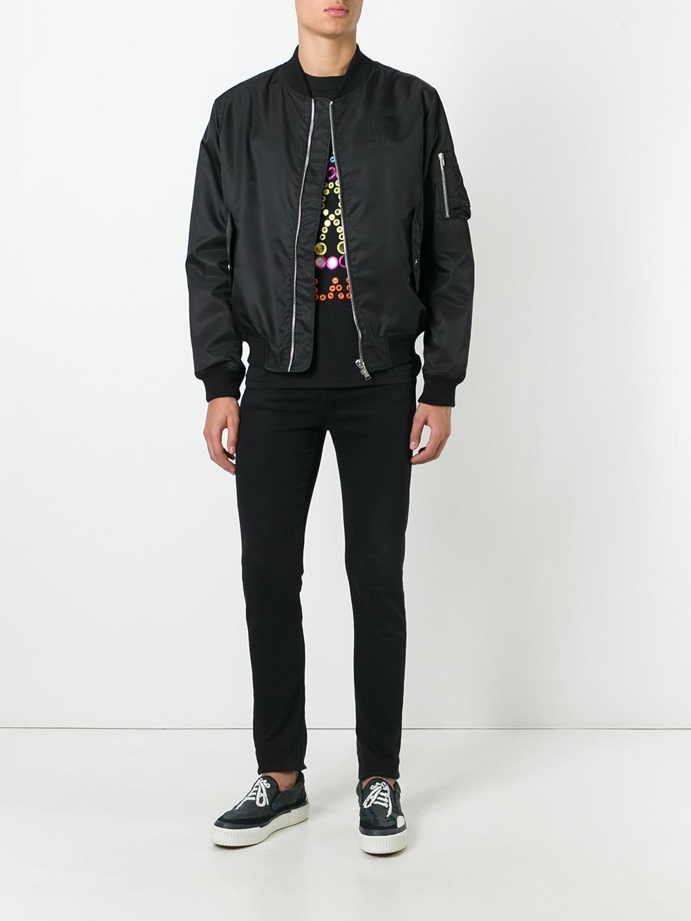 Moschino Cotton Logo Bomber Jacket in Black for Men