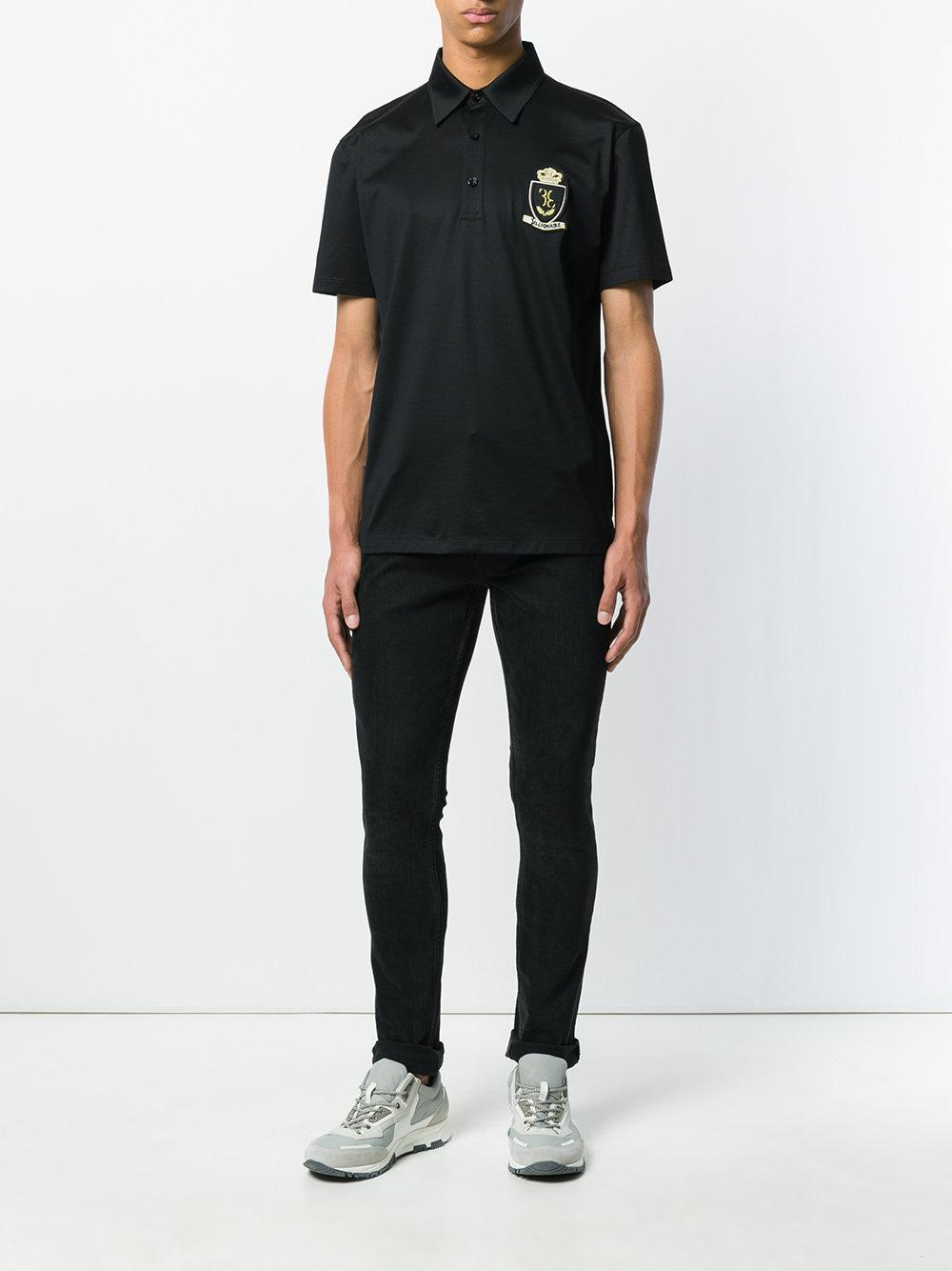Billionaire Cotton Crest Polo Shirt in Black for Men