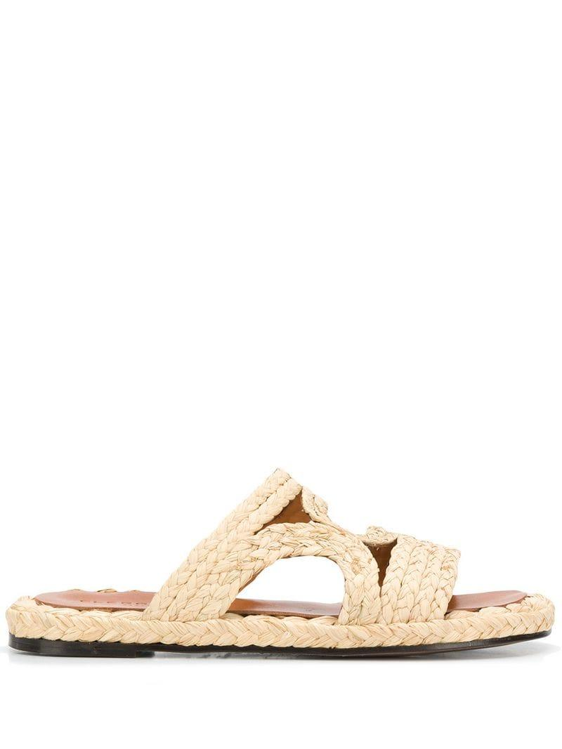 baaa14c8008 Lyst - Clergerie Braided Raffia Sandals in Natural