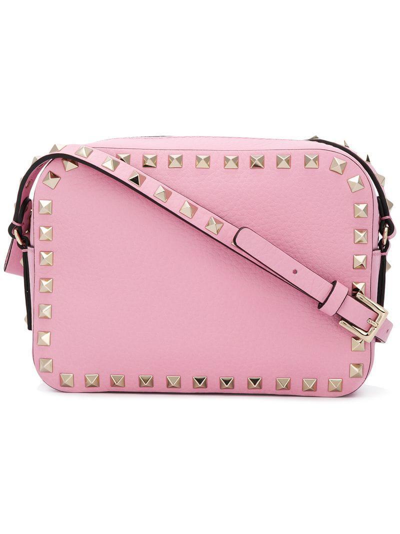 d43784a410b2 Lyst - Valentino Rockstud Crossbody Bag in Pink - Save 23%