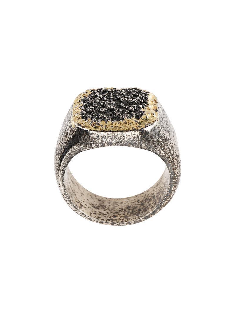 Tobias Wistisen grain effect chevalière ring - Metallic teTCjWKIb