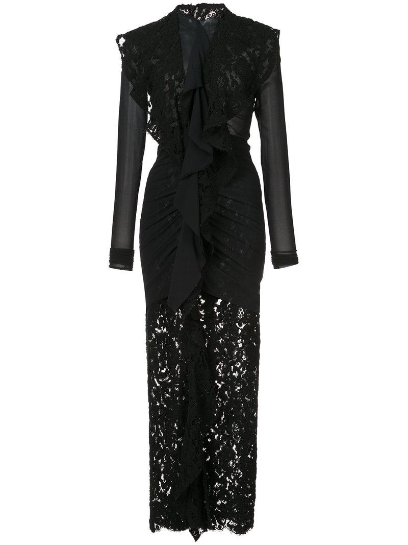 Long Sleeve Corded Lace Dress - Black Proenza Schouler szbNkNCfC7