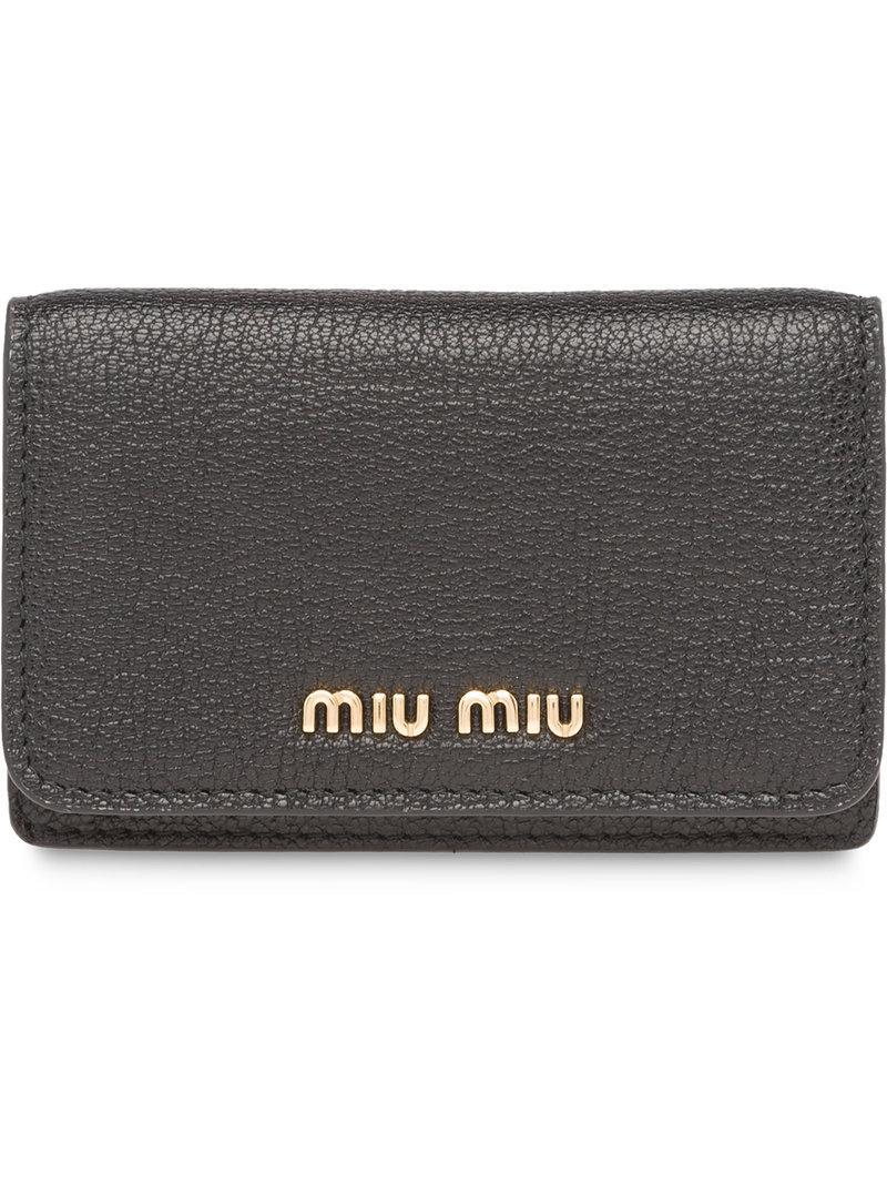 92b2469d1928 Miu Miu Madras Leather Business Card Holder in Black - Lyst
