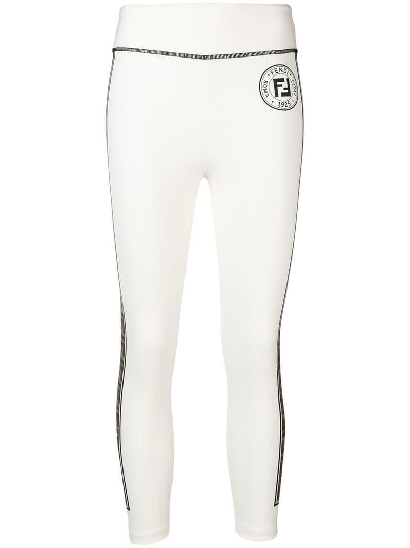 02ba5779774671 Fendi Logo Stripe leggings in White - Lyst