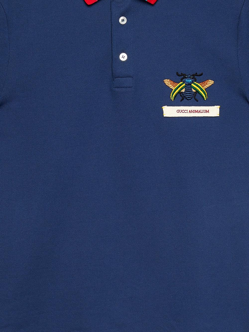 bad3599df Gucci Animalium Cotton Polo Shirt in Blue for Men - Lyst