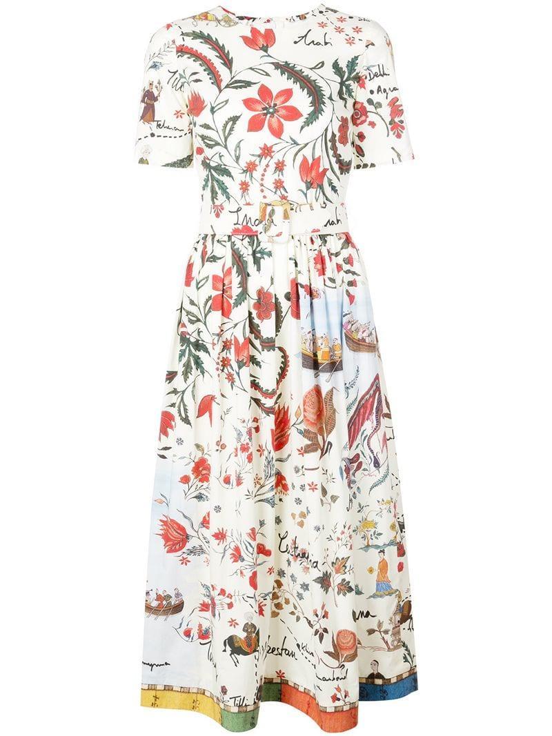 e18d6c6a434 Lyst - Oscar De La Renta Floral Print Flared Dress in White
