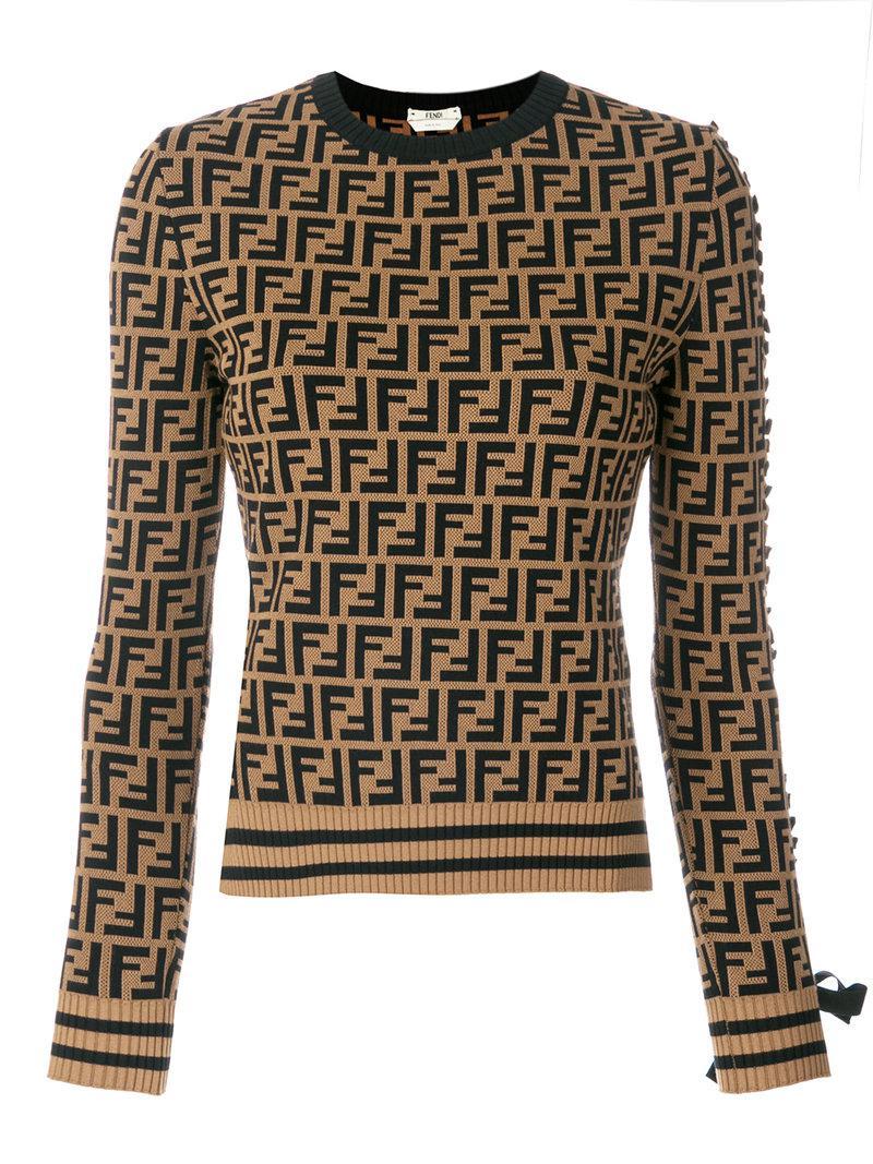 6789e6eb4d Fendi Logo Long-sleeve Sweater in Brown - Lyst
