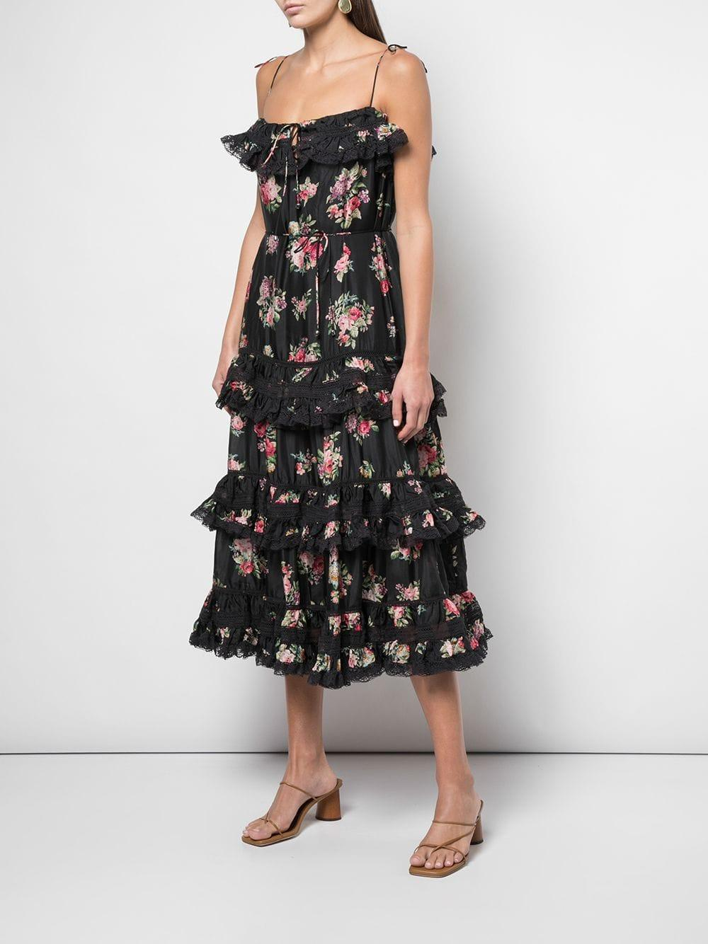 Zimmermann Seide 'Honour' Stufenkleid mit Blumen-Print in Schwarz