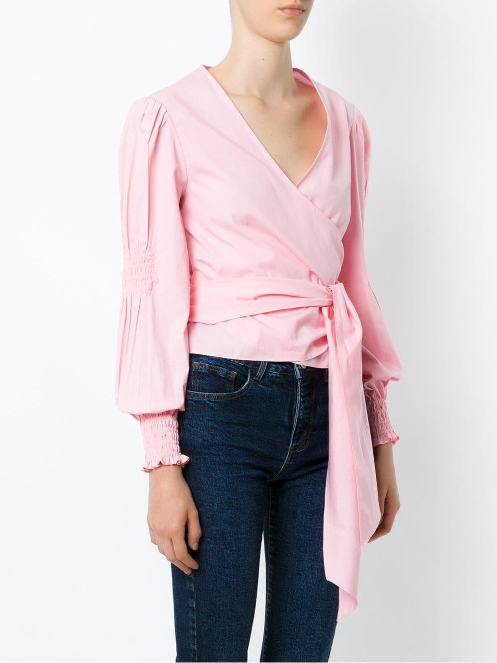 Martha Medeiros Cotton Kenia Wrap Style Shirt in Pink