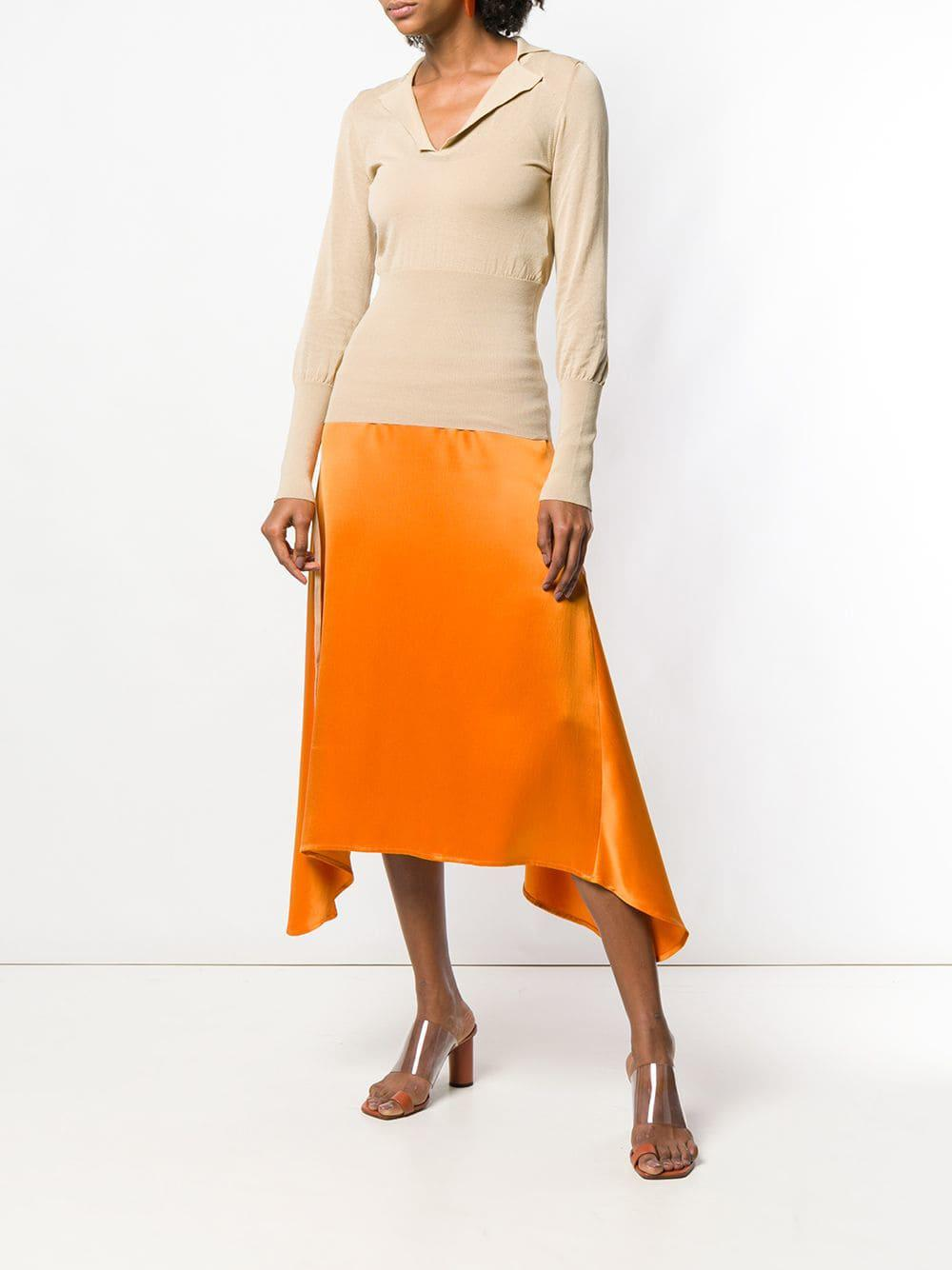 596c757635f Lyst - Jacquemus Fine Knit V-neck Top in Orange