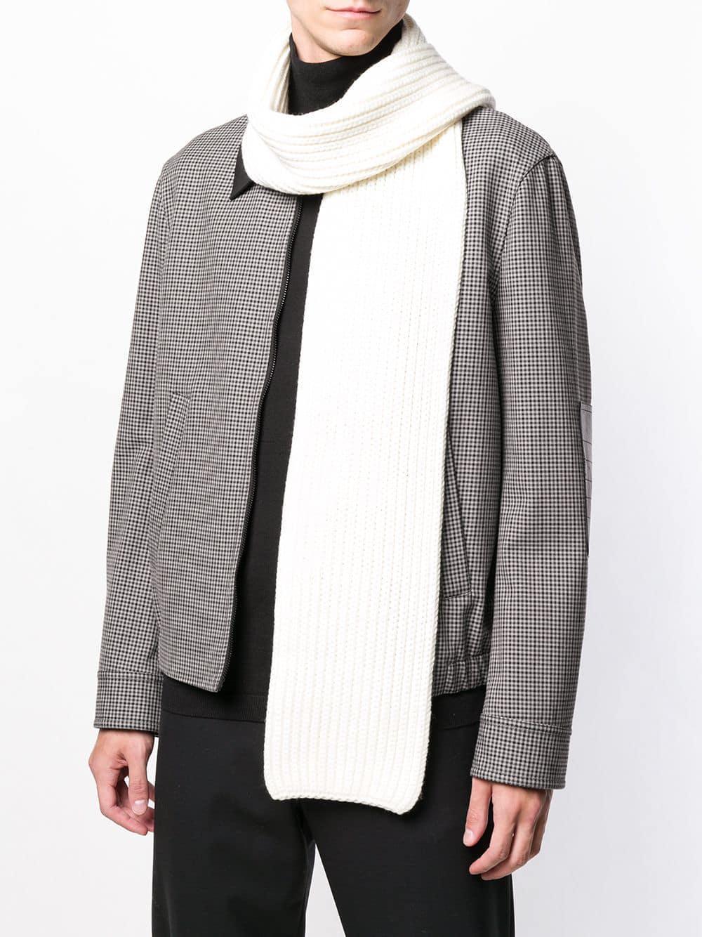 Neil Barrett Wool Knitted Scarf In White For Men Lyst