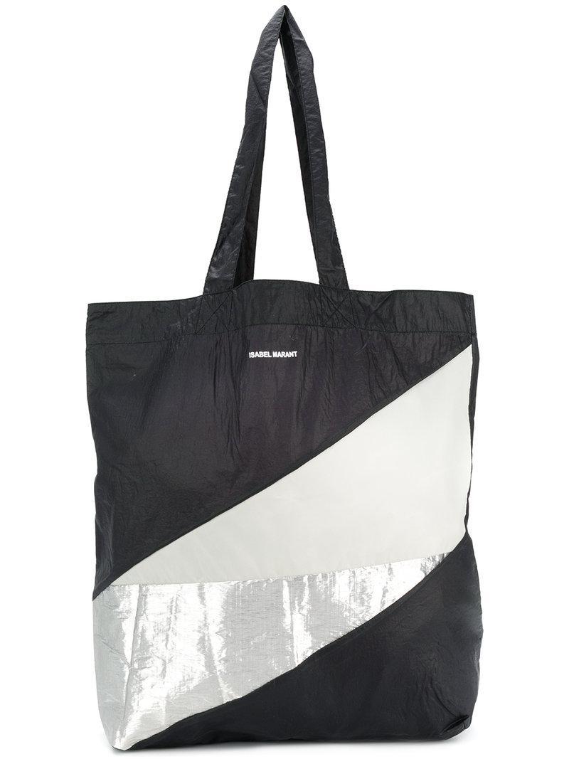 Lyst Isabel De Geométrico Marant Bolso Con Diseño Color Negro Shopper 08wkXnOP