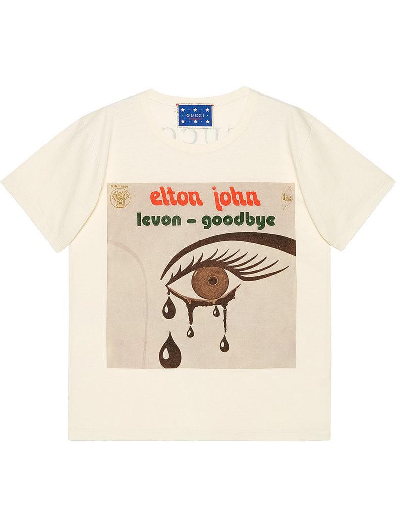 e2d5234705c Gucci Elton John T-shirt in Natural - Lyst