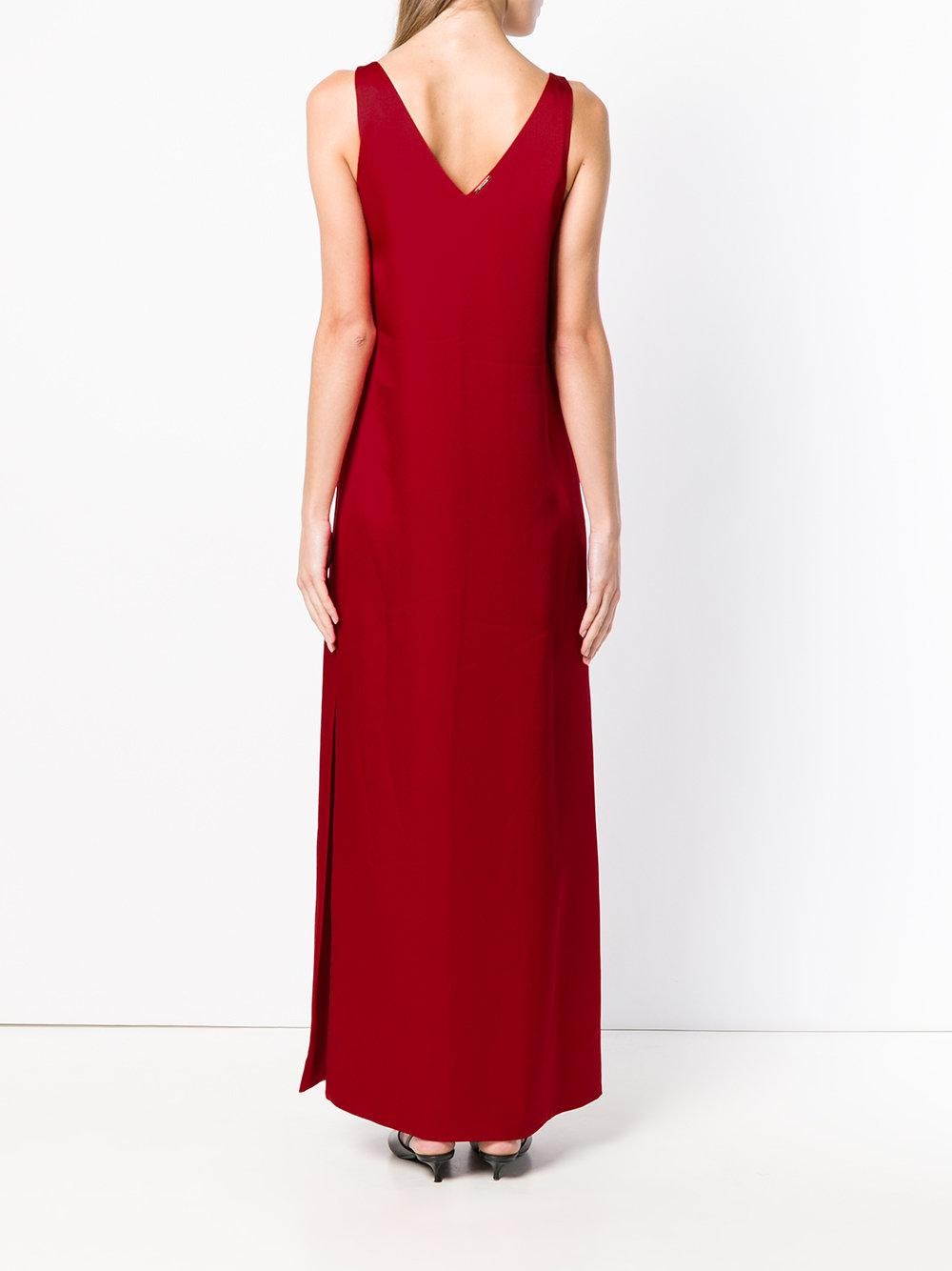 Styland Synthetic V-back Long Dress in Red