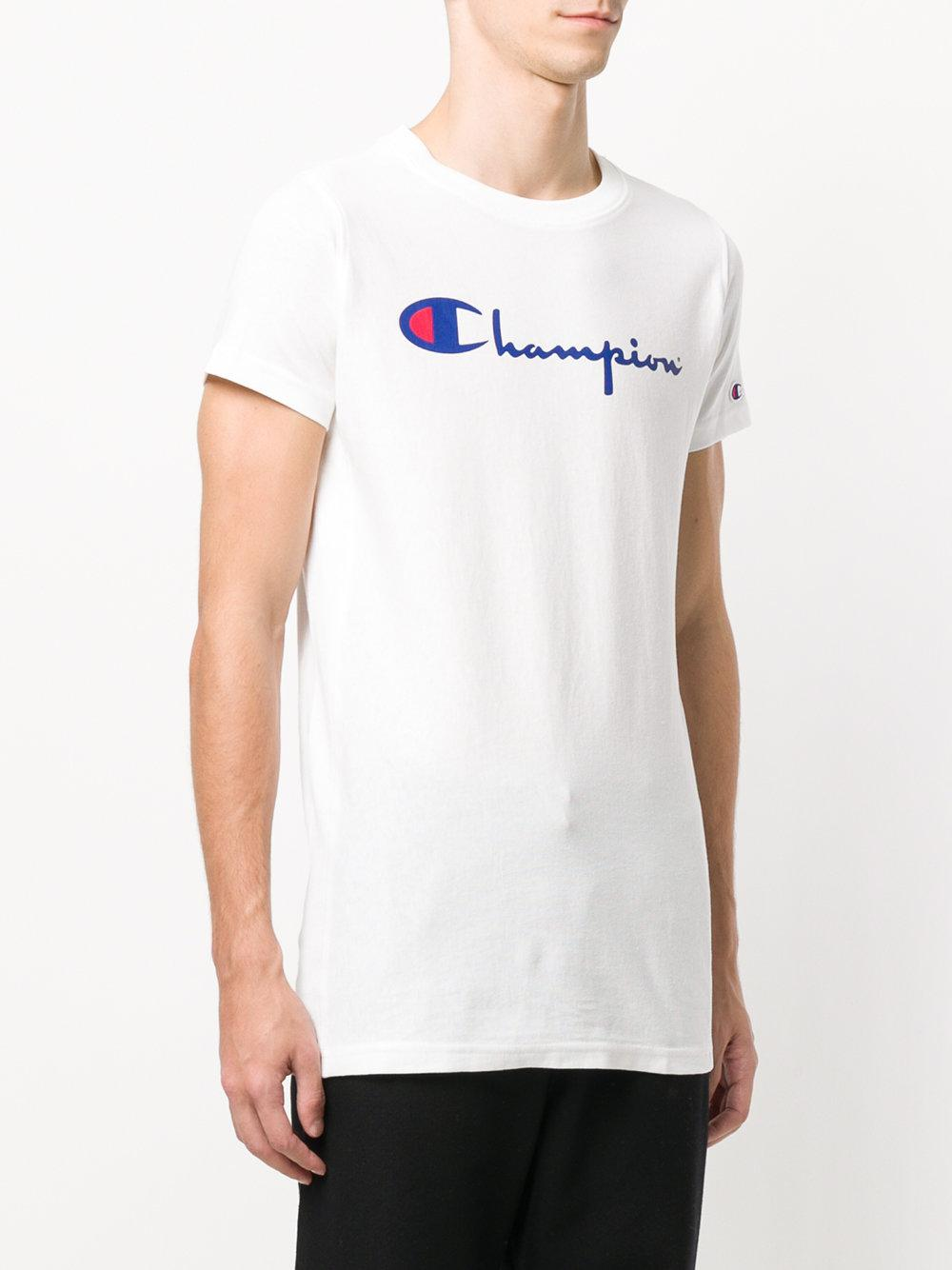 champion classic logo t shirt in white for men lyst. Black Bedroom Furniture Sets. Home Design Ideas