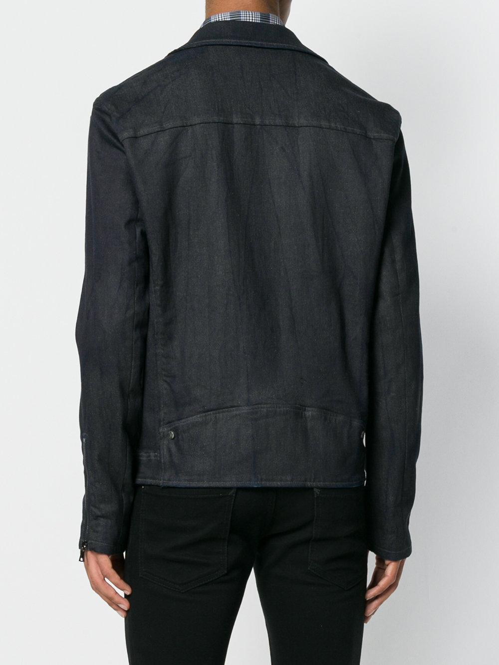 John Varvatos Cotton Biker Jacket in Blue for Men