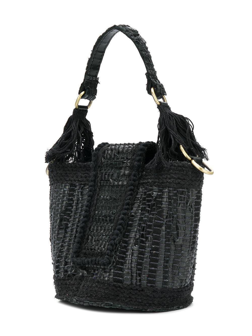 Kooreloo Leather Bucket Tote in Black