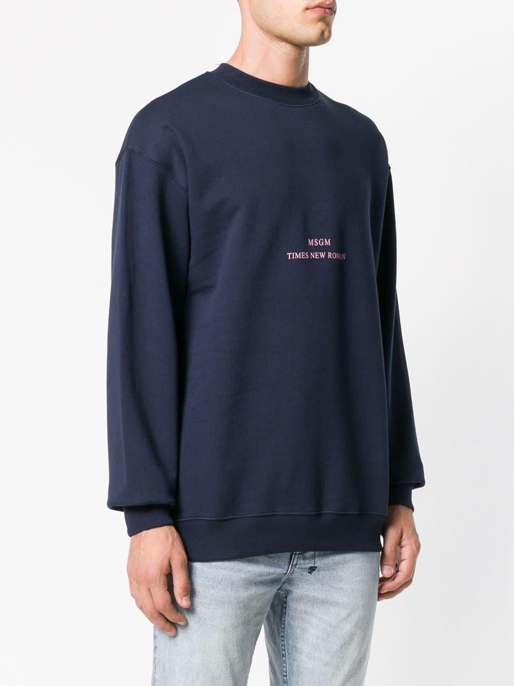 MSGM Logo Print Sweatshirt in Blue for Men