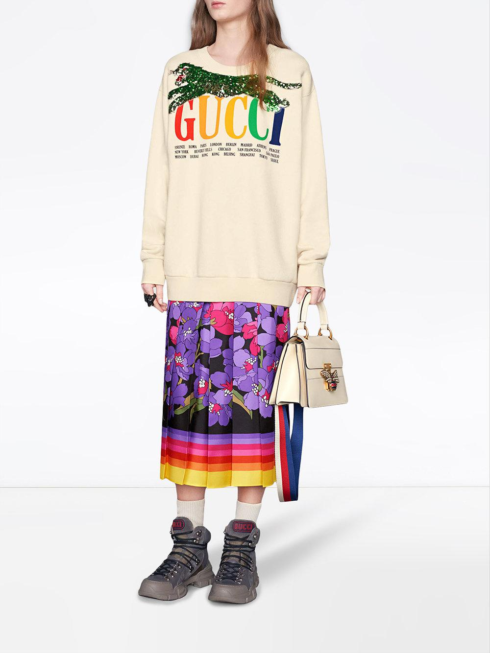 e312932765c Lyst - Gucci Cities Sweatshirt With Sequin Panther in White - Save 23%