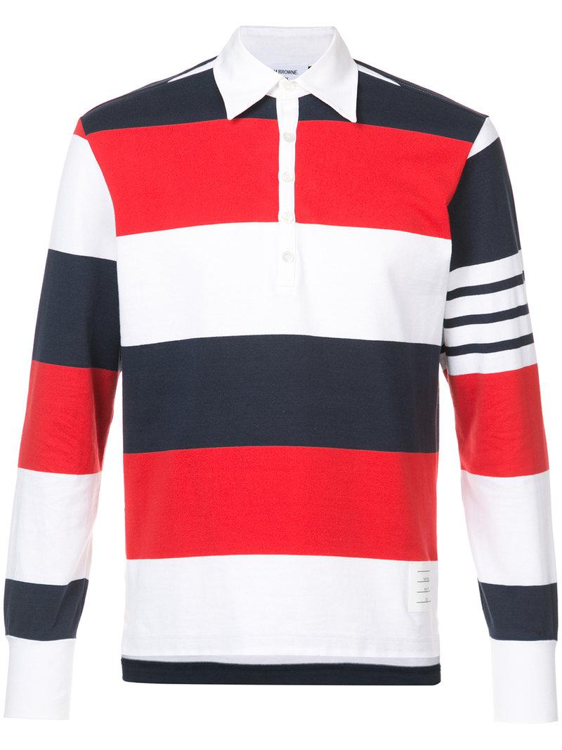 674340368b39 Lyst - Thom Browne Rugby Stripe Relaxed Fit Long Sleeve Polo in Red ...