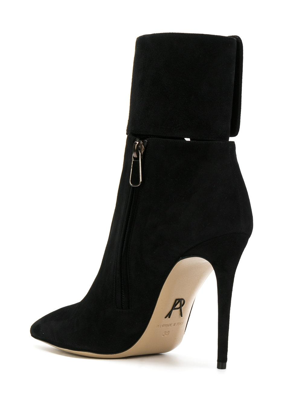 Paul Andrew Leather Pointed Toe Boots in Black