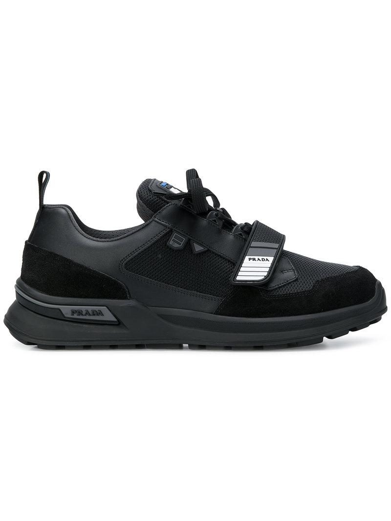 bcceca9790f Lyst - Baskets à détail de scratch Prada pour homme en coloris Noir