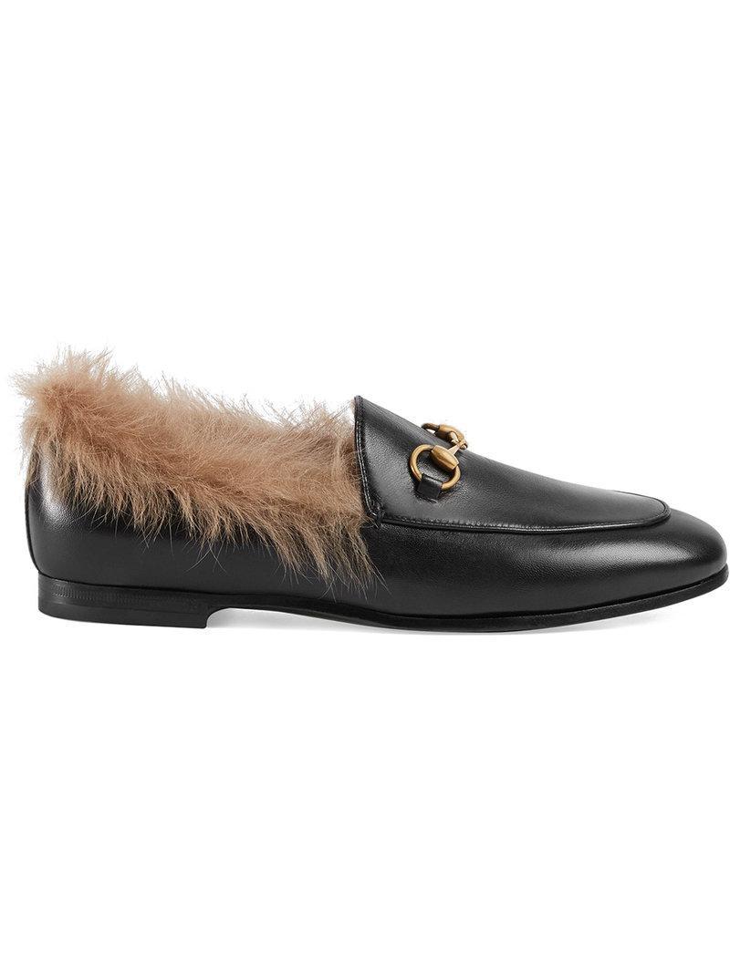 b9b1c03ee90 Lyst - Gucci Jordaan Fur Loafer in Black