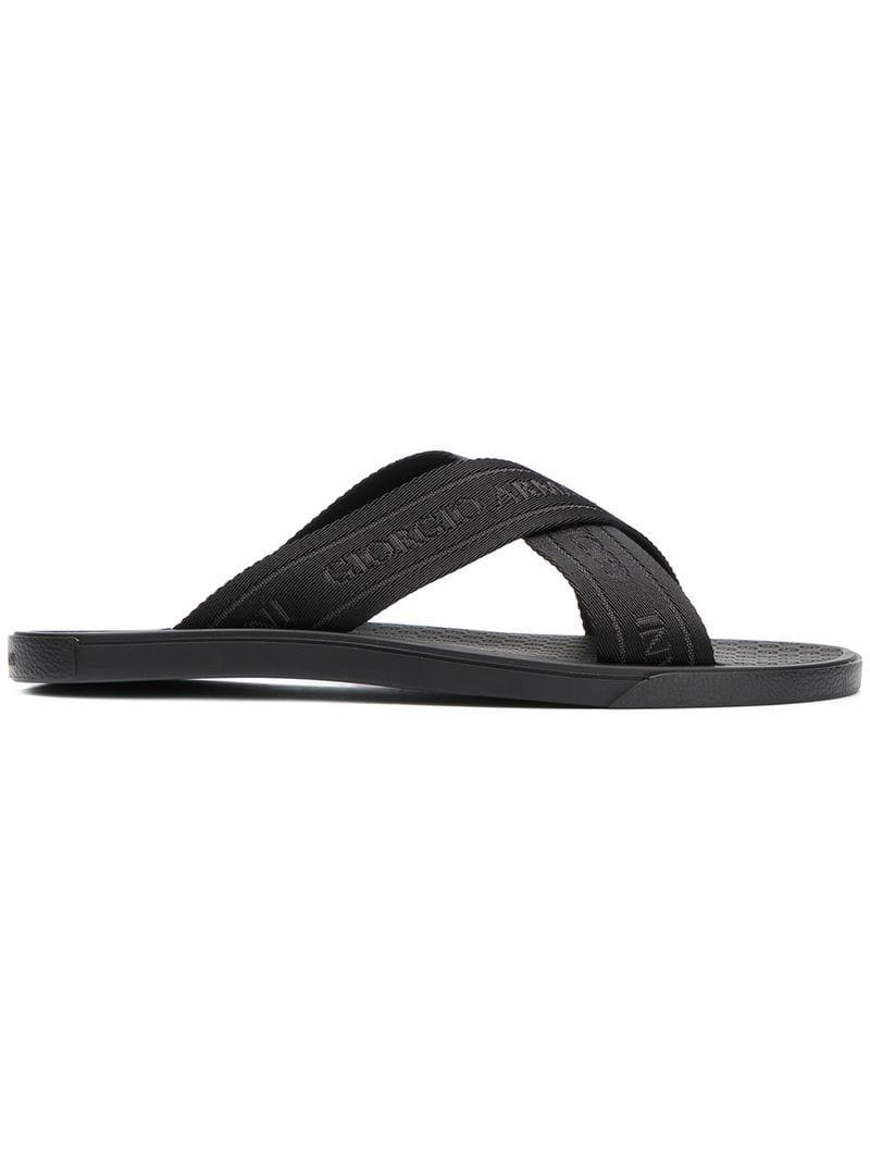 f1df7822af08f1 Lyst - Giorgio Armani Logo Embossed Cross Strap Sandals in Black for Men