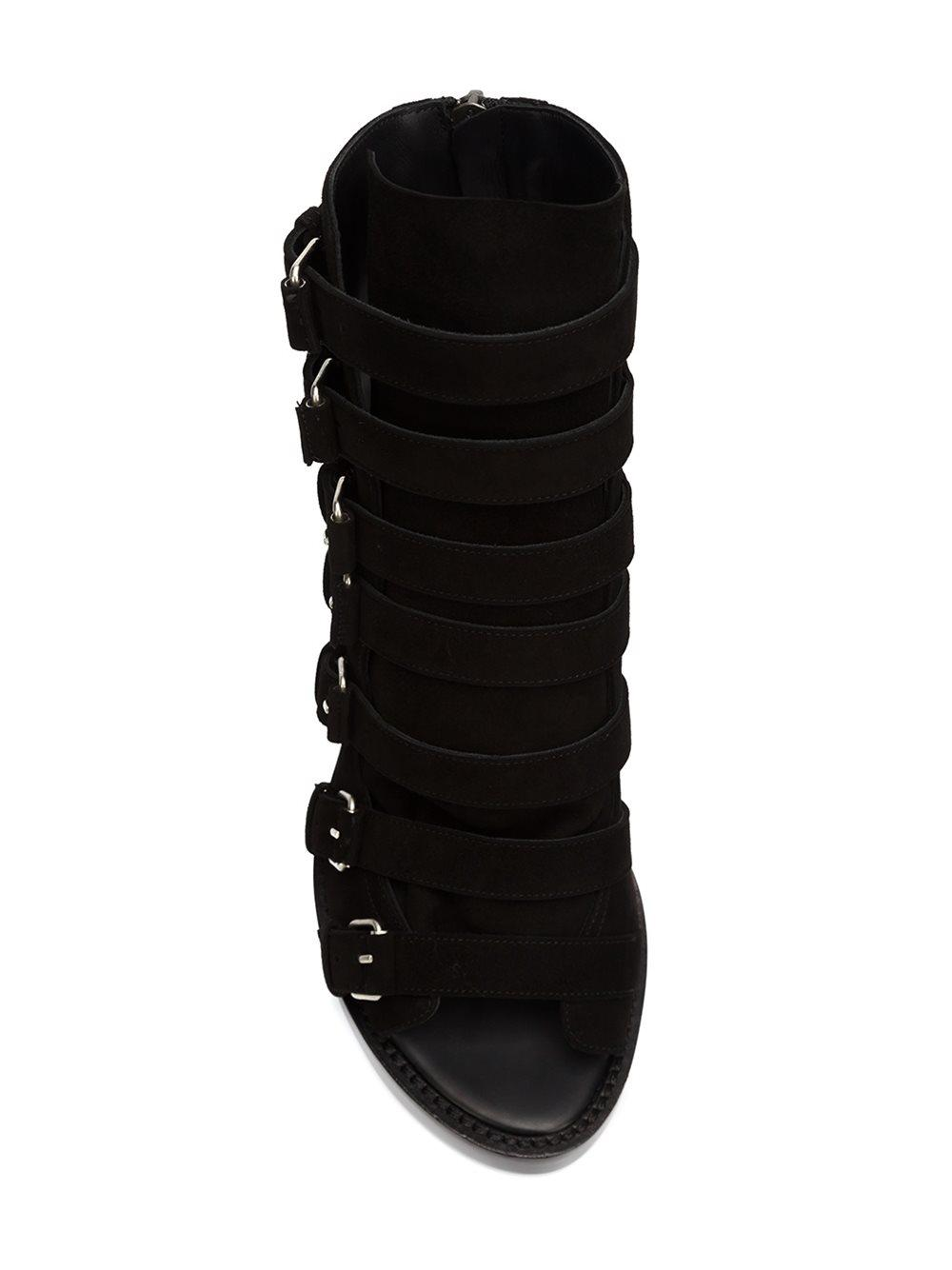 Ann Demeulemeester Leather Strappy Open Toe Boots in Black