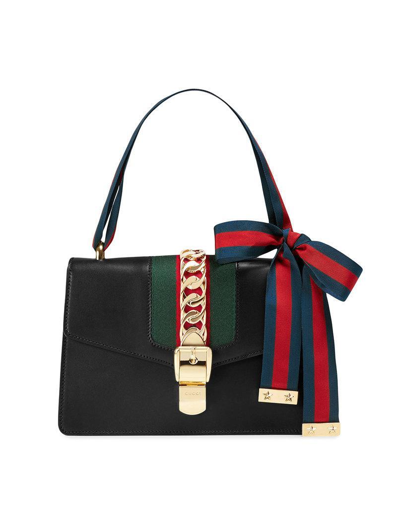 d9149338288 Lyst - Gucci Sylvie Leather Shoulder Bag in Black - Save ...