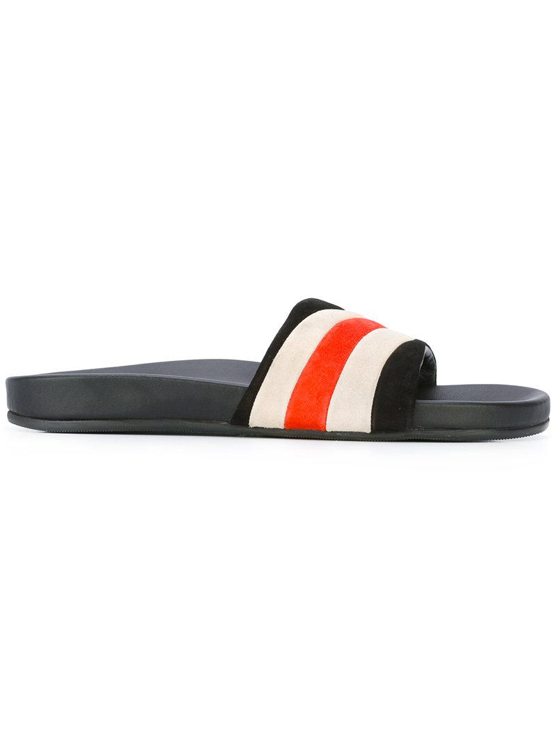 Marc jacobs Striped Pool Slides in Black for Men