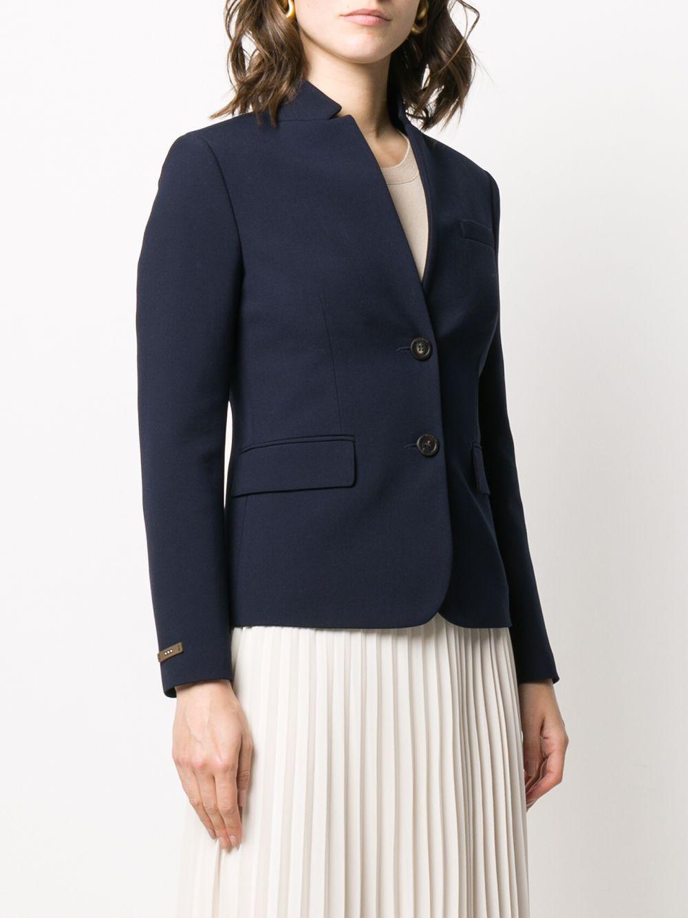 Blazer slim à col montant Coton Peserico en coloris Bleu