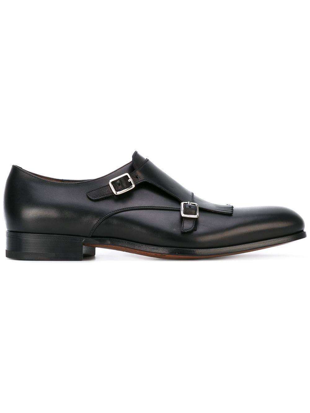 Ferragamo Leather Double Monkstrap in Black for Men