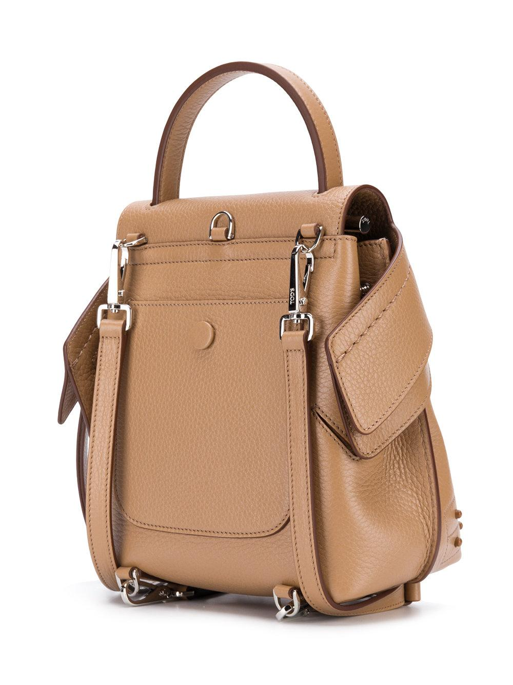 Tod's Leather Wave Mini Backpack in Brown