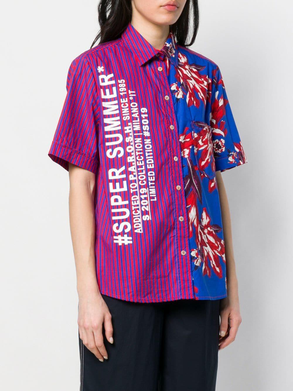 Camisa de manga corta con diseño colour block P.A.R.O.S.H. de Algodón de color Azul