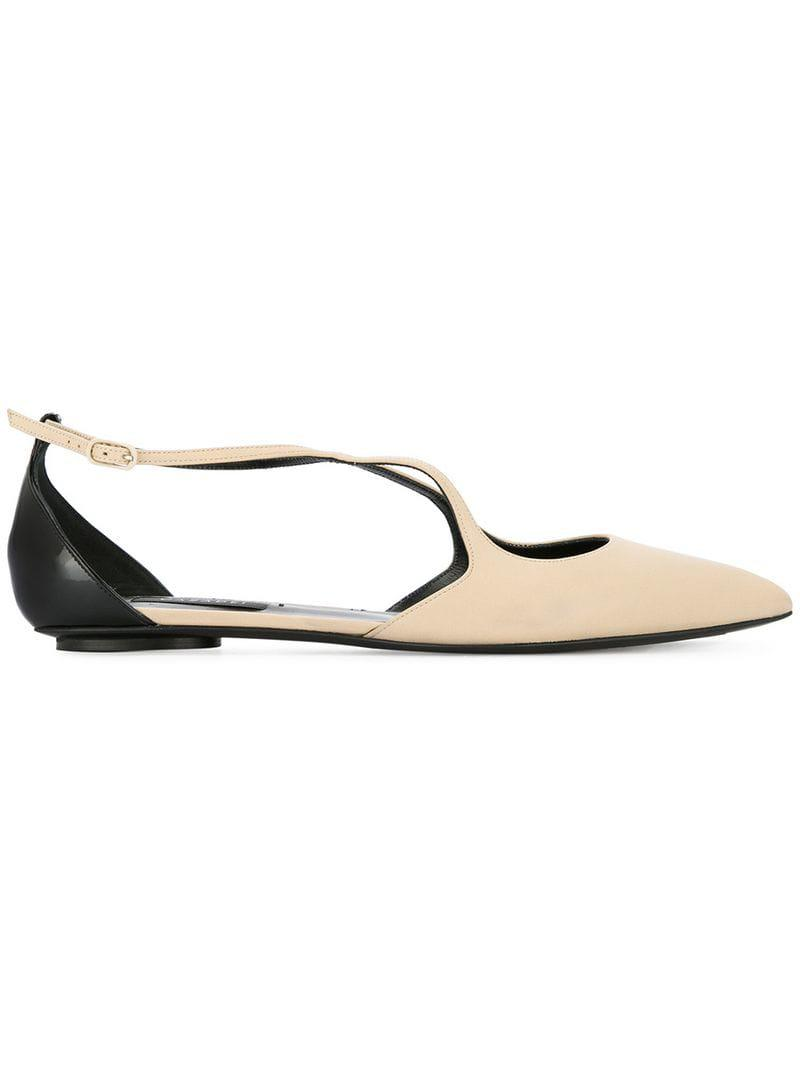 ea77c367369c4f Casadei Pointed Crossover Ballerina Shoes - Save 39% - Lyst