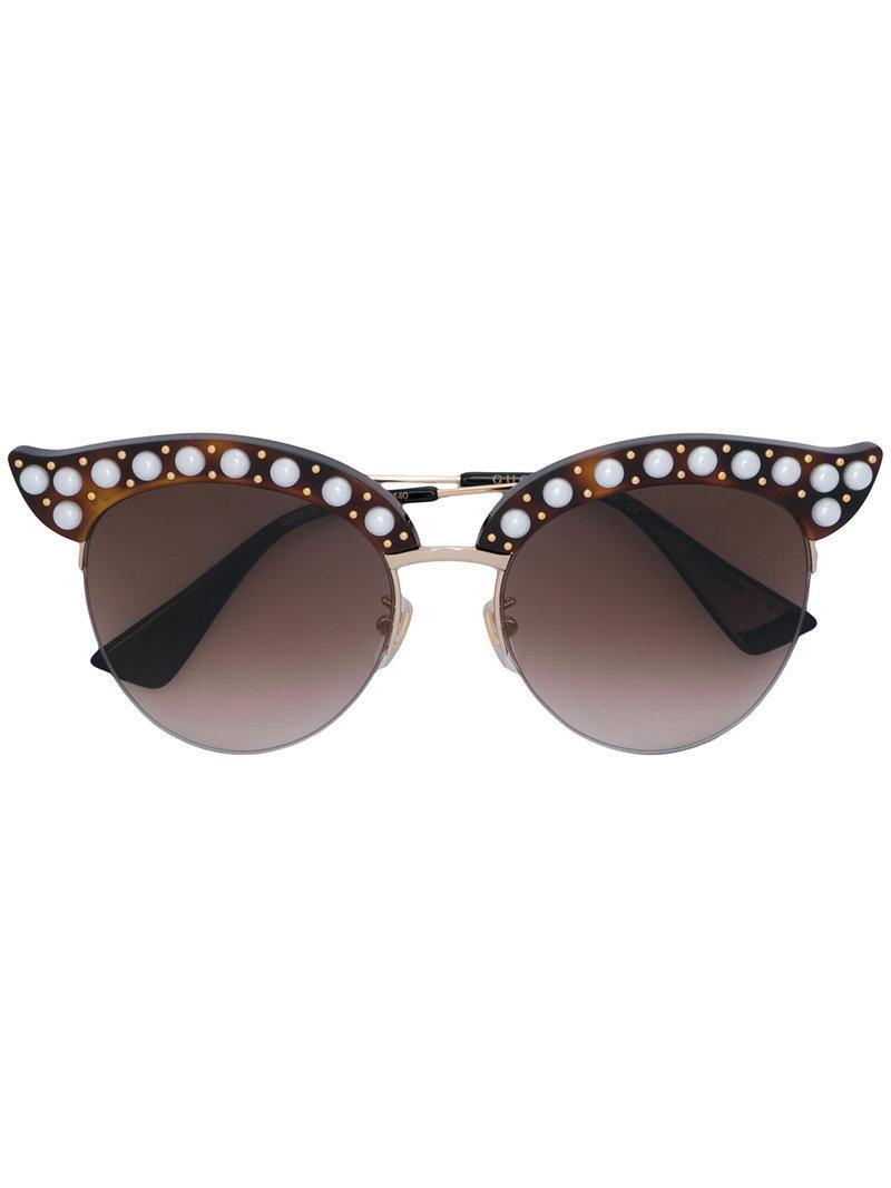 a6681e6a5d2 Gucci Round Frame Sunglasses in Brown - Lyst