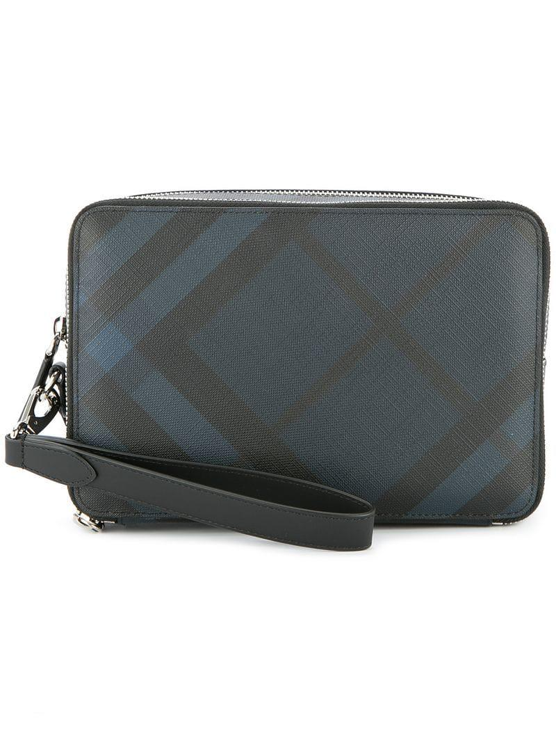 cef3db1c3ab2 Burberry London Check Pouch in Blue for Men - Lyst