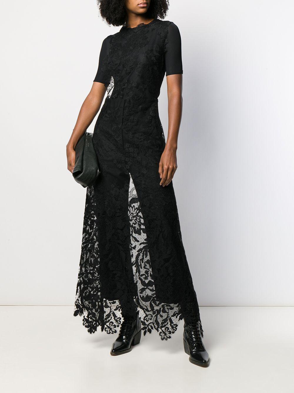 Blusa larga de encaje Vera Wang de Encaje de color Negro