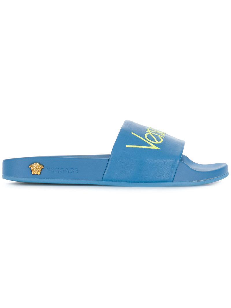 Logo Versace Sandales Curseur - Bleu GDG4e