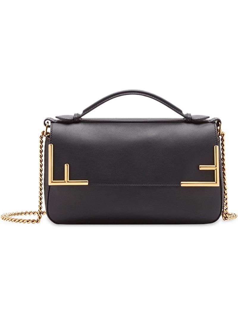 6b7aa99b67 Fendi Double F Shoulder Bag in Black - Lyst