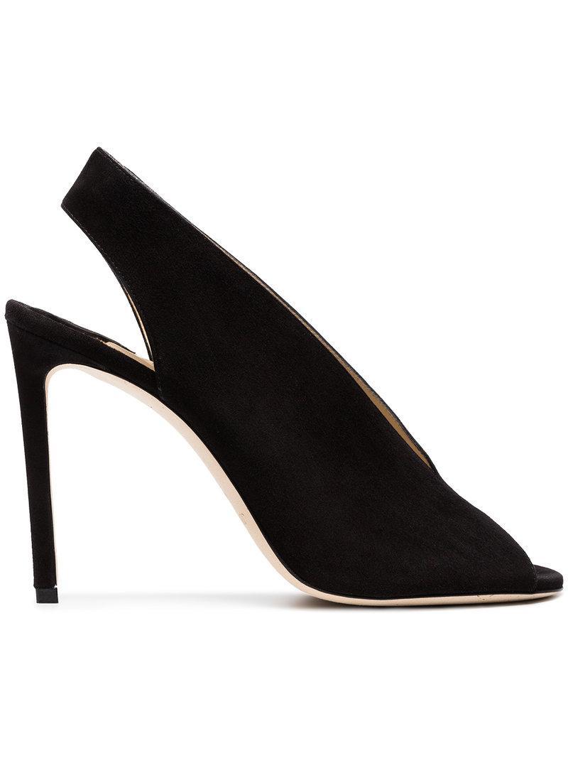 20ab5640dd5 Lyst - Jimmy Choo Shar 85 Suede Leather Sandal Booties in Black ...