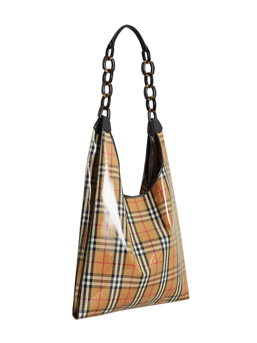 Medium plastic shopper with vintage check pouch - Nude & Neutrals Burberry gagtTkH4