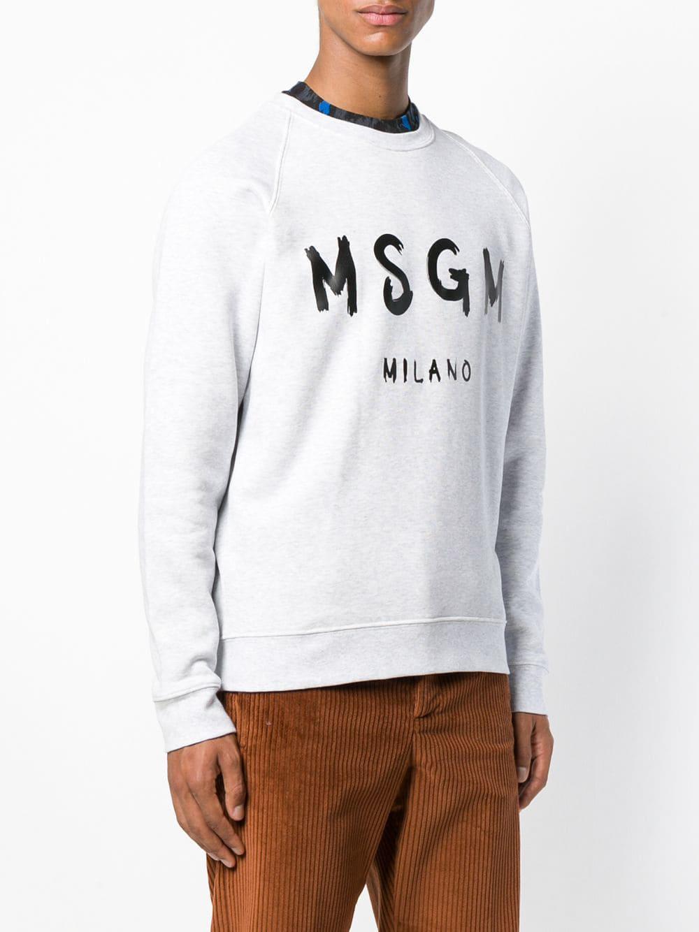 MSGM Katoen Trui Met Geprint Logo in het Grijs voor heren